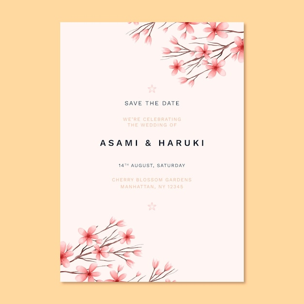 free vector  japanese wedding invitation with cute flowers
