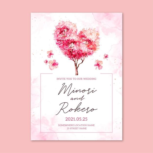 Japanese wedding invitation with sakura flowers Free Vector
