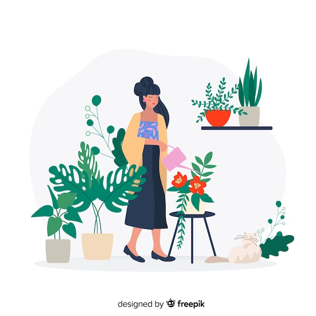 Japanese woman taking care of plants, gardener working Free Vector