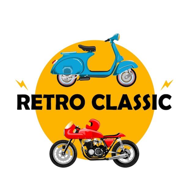 Japstyle vespa motorcycle classic retro old school vintage Premium Vector