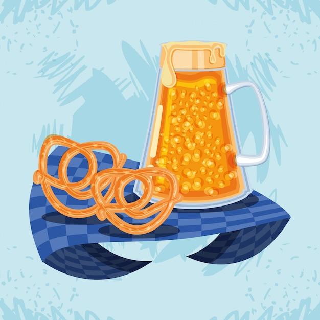 Jar beer with pretzel oktoberfest celebration Premium Vector