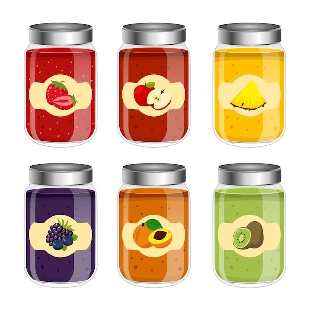 Фляги с желе и фруктами Premium векторы