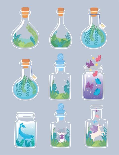 動物と花の組成装飾植物植生イラストで設定された瓶テラリウム Premiumベクター