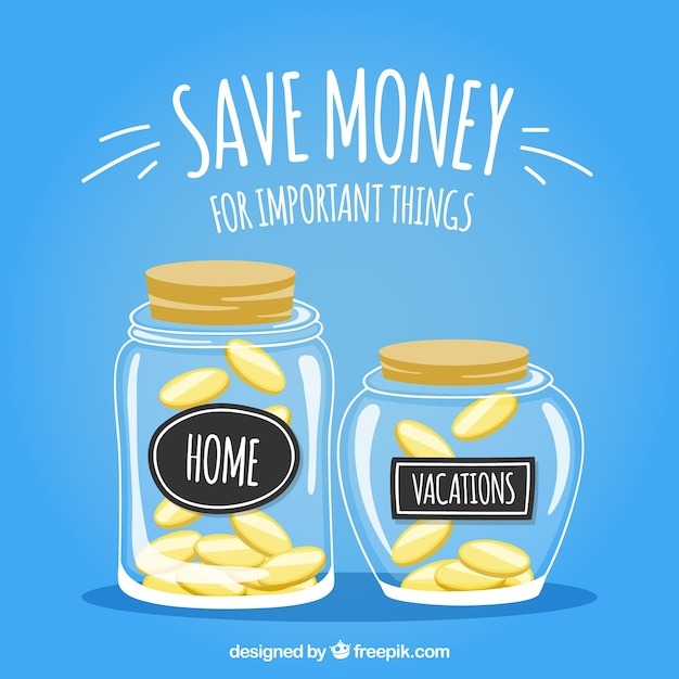 Jars background with savings for home and vacations Free Vector
