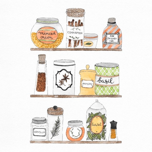 Jars, cans and spices watercolor illustration Free Vector