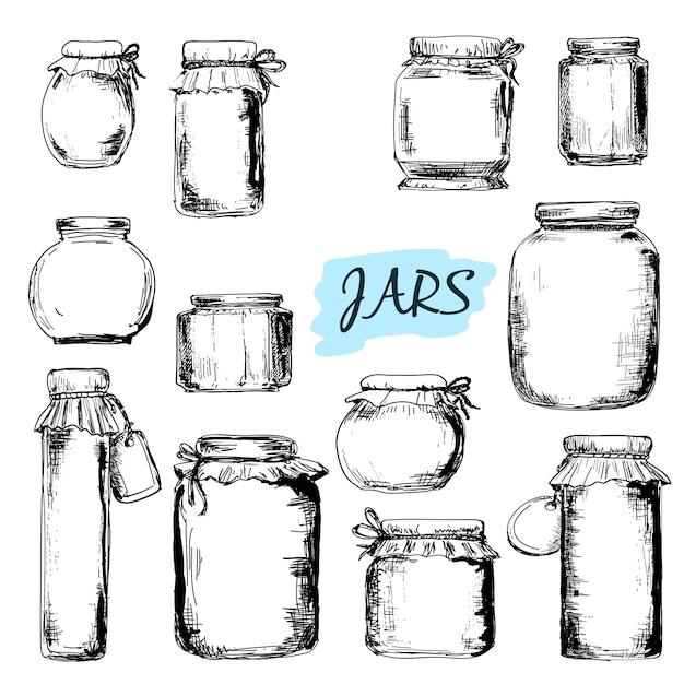 Jars. set of drawings Premium Vector