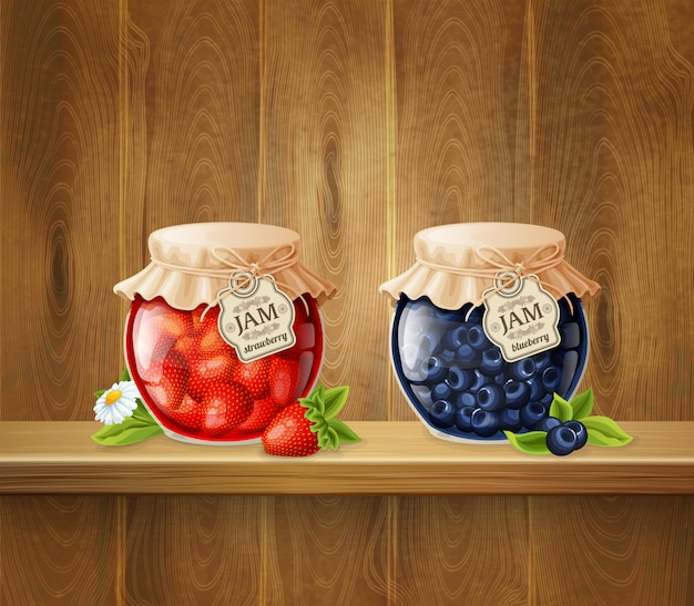 Jars with jam on wooden shelf Free Vector