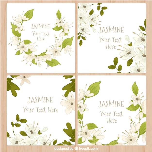 Jasmine greeting cards Free Vector