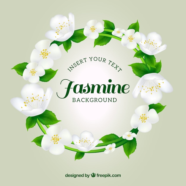 Jasmine Wreath Background Vector