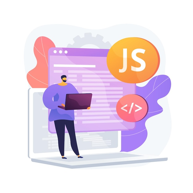 Javascript abstract concept illustration Free Vector