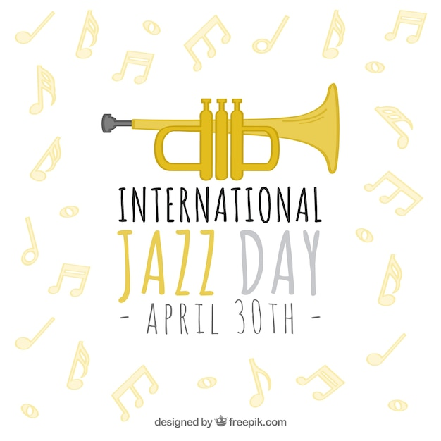 Jazz background with trumpet and musical notes Free Vector
