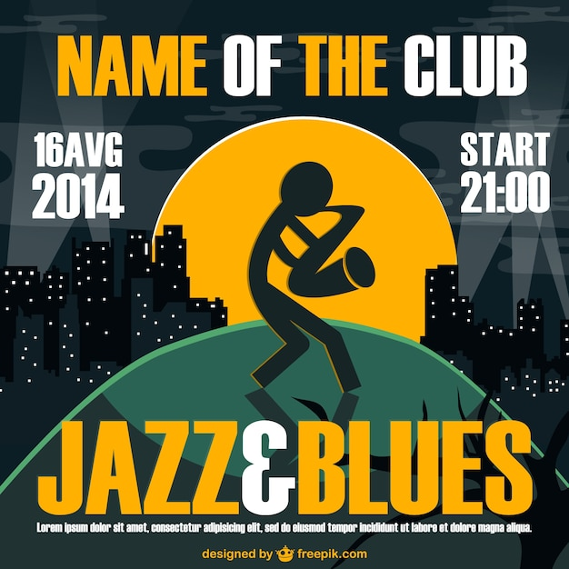 Jazz and blues party poster Free Vector