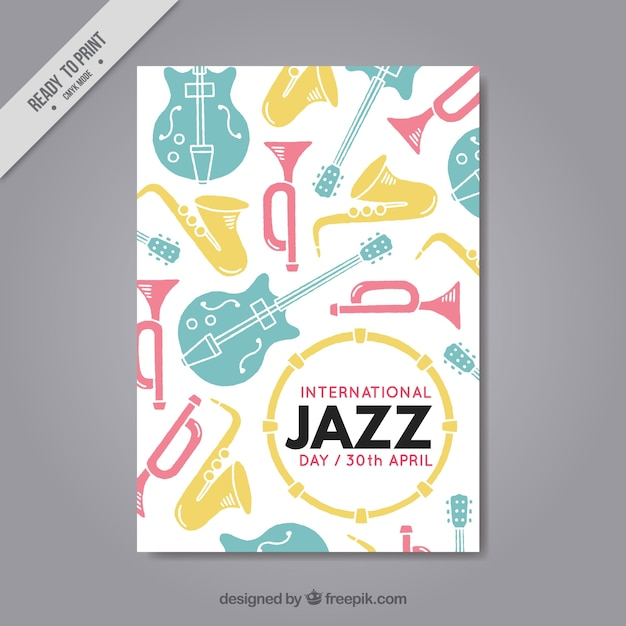 Jazz Brochure With Colored Music Instruments Vector  Free Download