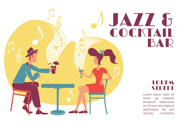 Jazz and cocktail bar banner   template. Premium Vector