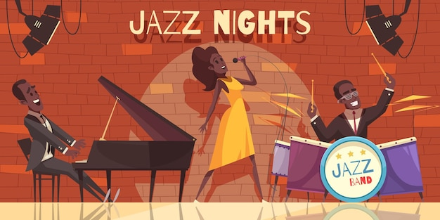 Jazz  composition with view of night club stage with african american musicians and musical instruments Free Vector