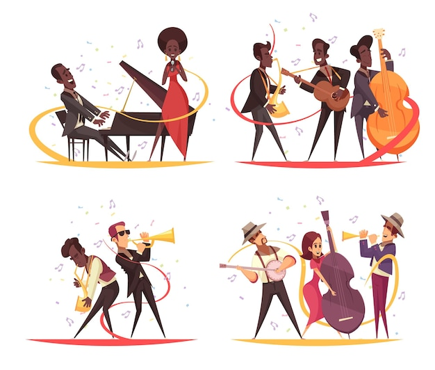 Jazz  concept with cartoon characters of musicians on stage with instruments and note silhouettes Free Vector