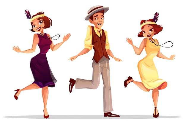 Jazz dancers illustration of middle age women and man in hat dancing charleston Free Vector