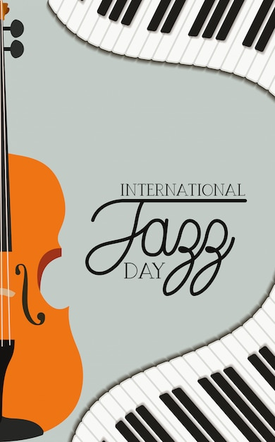 Jazz day poster with piano keyboard and fiddle Premium Vector
