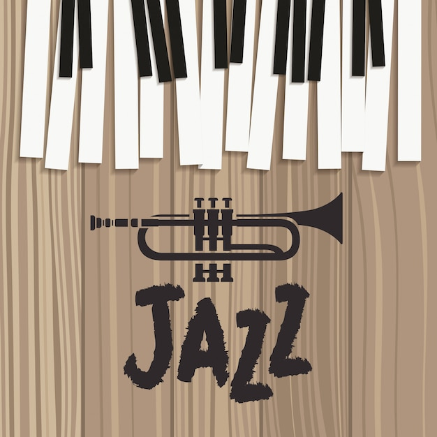 Jazz day poster with piano keyboard and trumpet Premium Vector