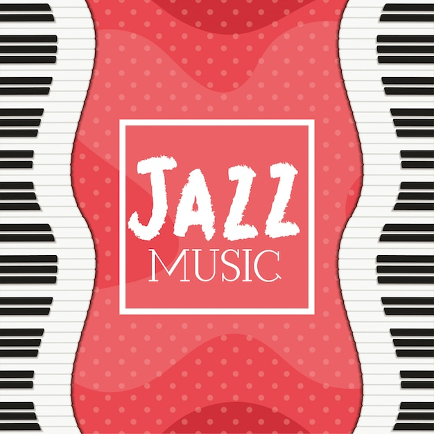 Jazz day poster with piano keyboard Premium Vector