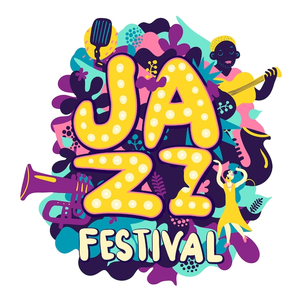 Jazz festival composition Free Vector