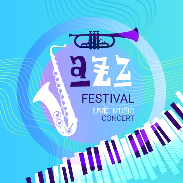 Jazz festival live music concert poster advertisement banner Premium Vector