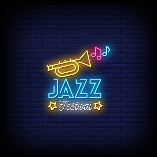 Jazz festival neon signs style text Premium Vector