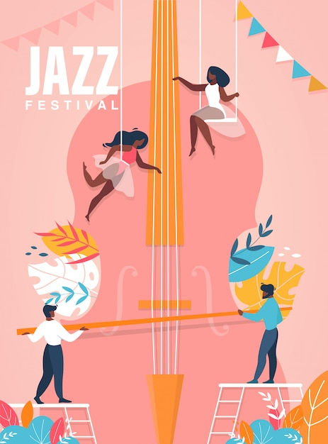 Jazz festival poster. people playing on huge cello illustration Premium Vector