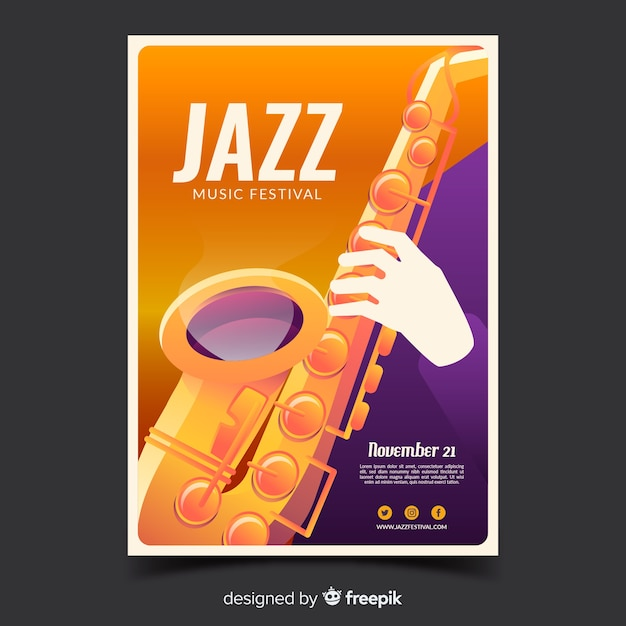 Jazz festival poster with gradient illustration Free Vector