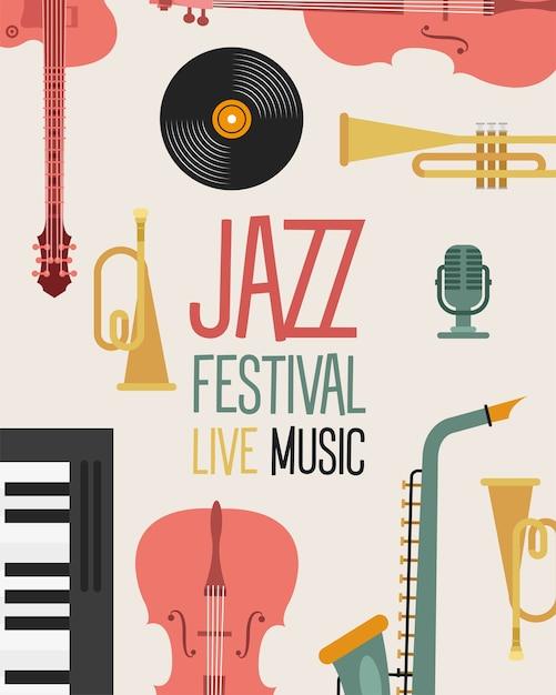 Плакат джазового фестиваля с инструментами и надписью дизайн векторной иллюстрации Premium векторы