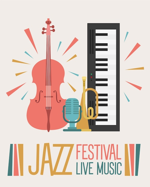 Jazz festival poster with instruments and lettering vector illustration design Premium Vector