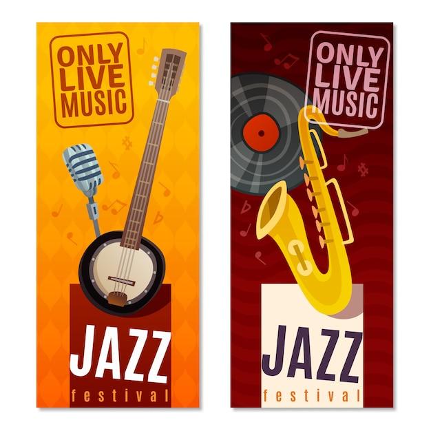 Jazz festival вертикальный баннер Бесплатные векторы