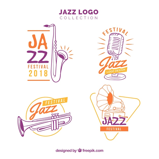 Jazz logo collection with hand drawn style Free Vector