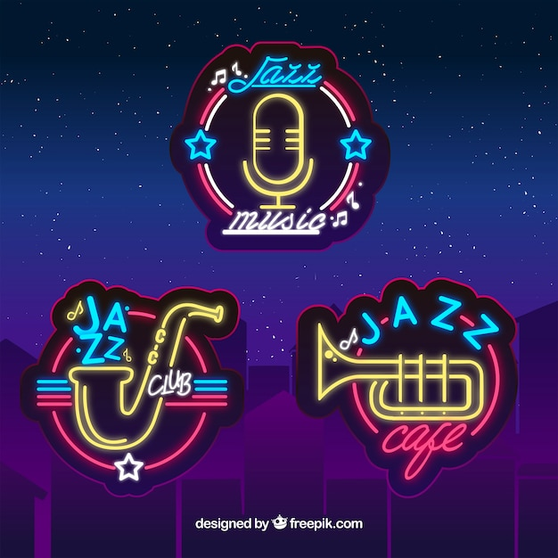 Jazz logo collection with neon lights style Free Vector