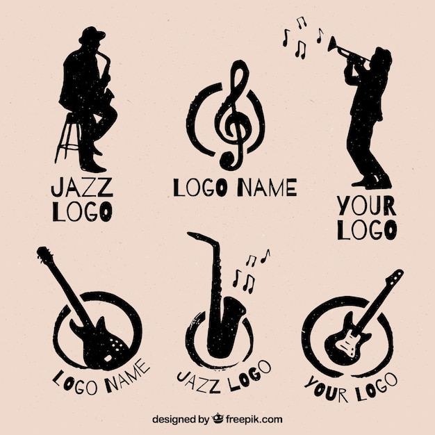Jazz logo collection with vintage style Free Vector
