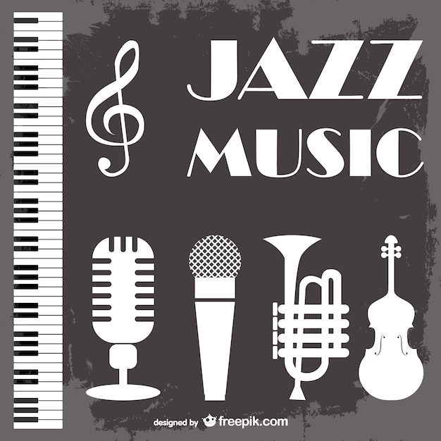 Jazz music symbol vector illustration with yellow saxophone free.