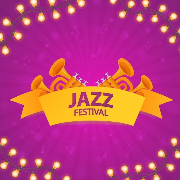 Jazz music festival. concept of music poster with trumpets. glowing garland Premium Vector