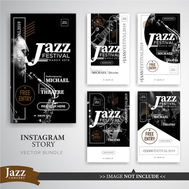 Jazz or music festival instagram stories banner template Premium Vector