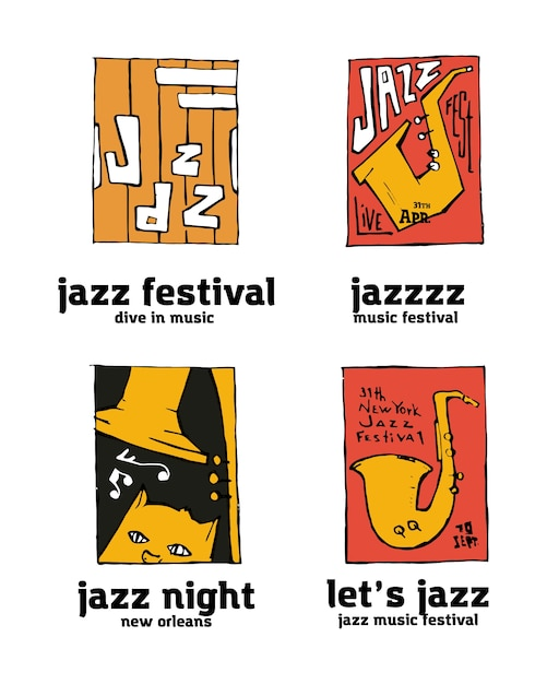 Jazz music festival logo set Premium Vector