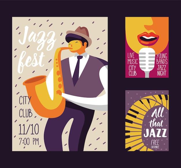 Jazz music festival poster template Premium Vector