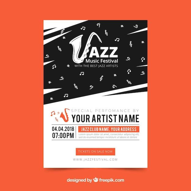 Jazz music festival poster Free Vector