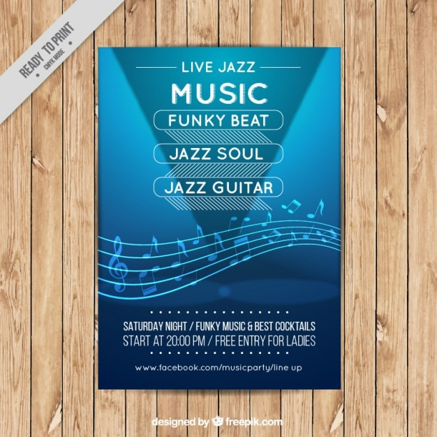 Jazz music flyer template Vector | Free Download