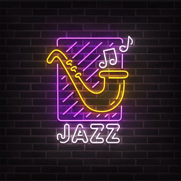 Jazz music neon sign Premium Vector