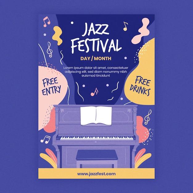 Шаблон постера джазовой музыки Бесплатные векторы