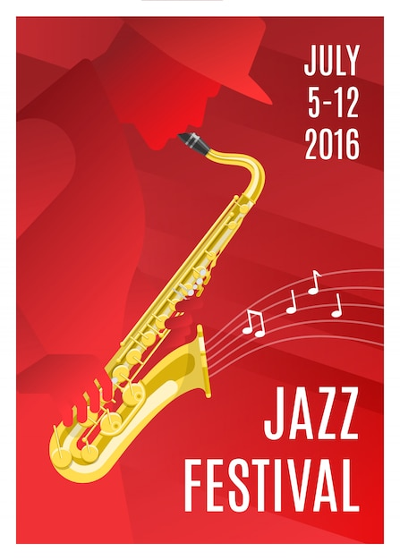 Jazz music poster Free Vector