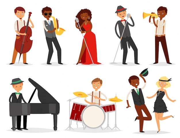 Jazz  musician character playing on musical instruments saxophone drums and piano illustration music set of singer dancer saxophonist and drummer  on white background Premium Vector