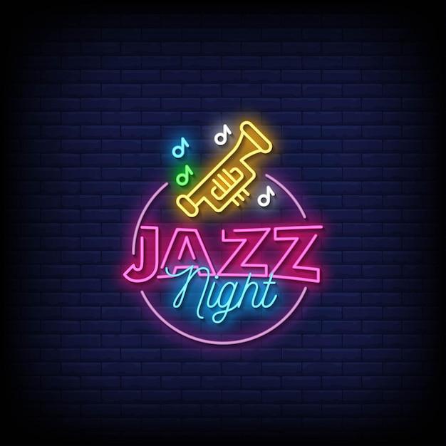 Jazz night neon signs style text Premium Vector