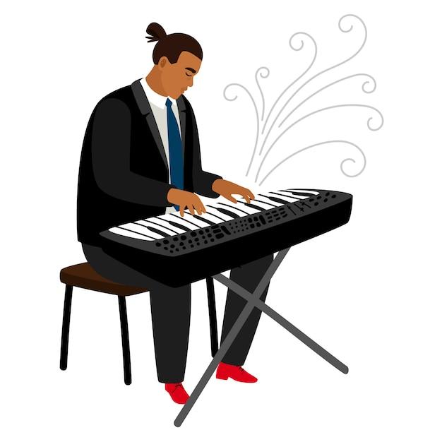 Джазовый пианист играет на синтезаторе мультипликационного персонажа Premium векторы