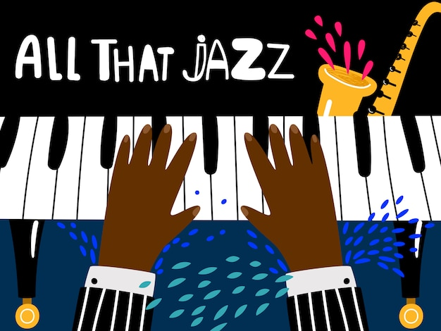 Jazz piano poster. blues and jazz rhythm musical art festival Premium Vector