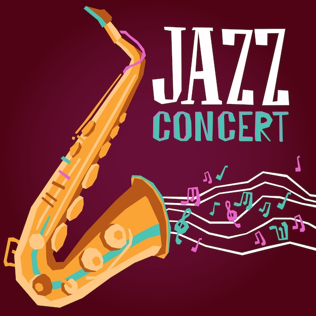 Jazz poster with saxophone Free Vector